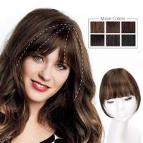 HMD Clip in Bangs 100% Human Hair Bangs Extensions for Women Medium Brown Clip on Fringe Bangs Real Hair Nice Natural Flat Neat Bangs with Gradual Temples One Piece Hairpiece for Party and Daily Wear