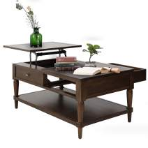 Binrrio Modern Lift Top Coffee Table with 1 Storage Drawer 1 Decor Drawer and Storage Shelf Coffee Desk - Lift Tabletop for Living Room Reception Room (Dark Brown)