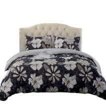 JML Duvet Cover, Luxury Soft Brushed Microfiber 3 Piece King Duvet Cover Set with Zipper Closure Tie - Reversible Floral Boho Pattern Bedding Set, Grey Brown Floral