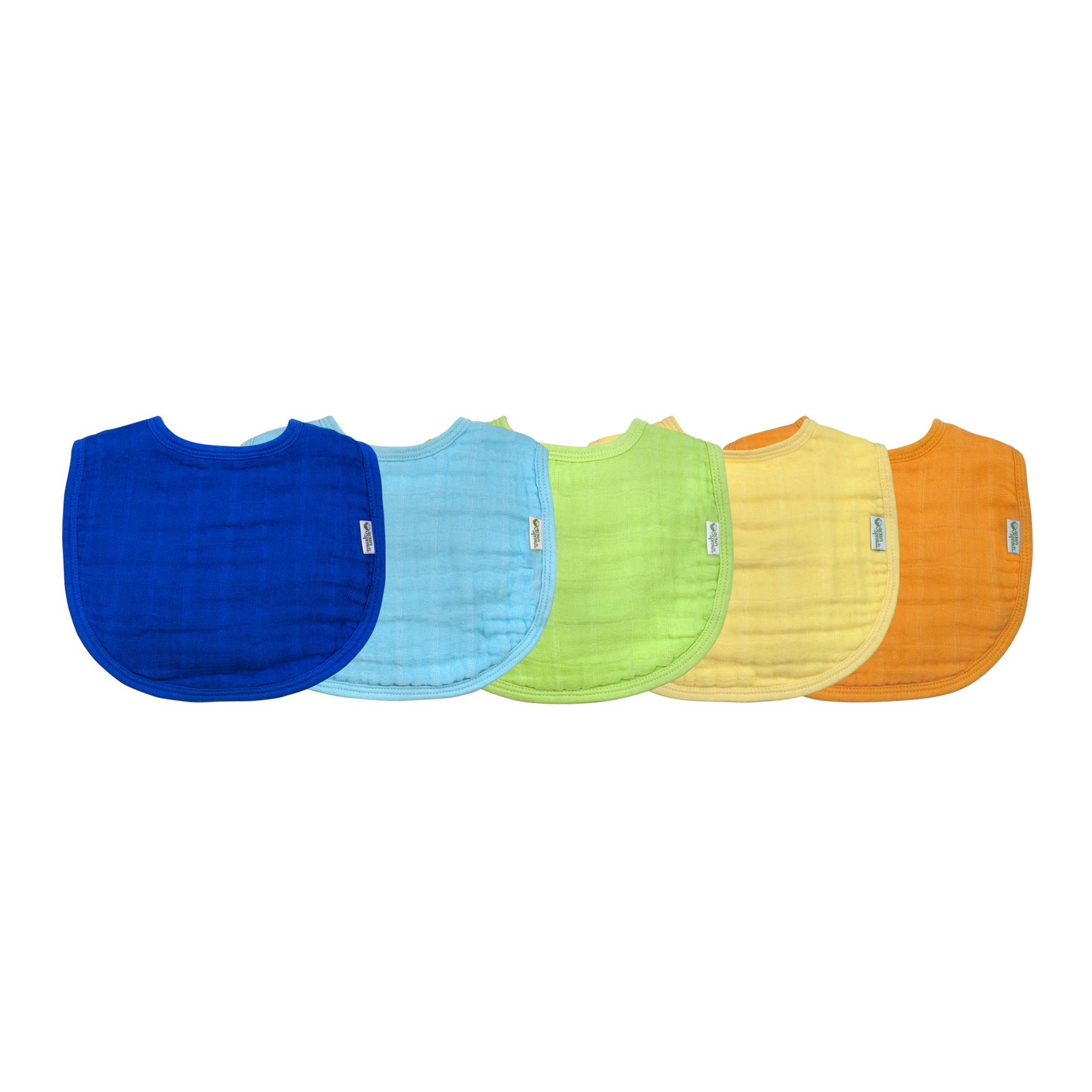 green sprouts Muslin Bibs made from Organic Cotton (5 pack)  4 absorbent layers protect from sniffles, drips, & drools   100% Organic cotton muslin, Adjustable snap closure, Machine washable