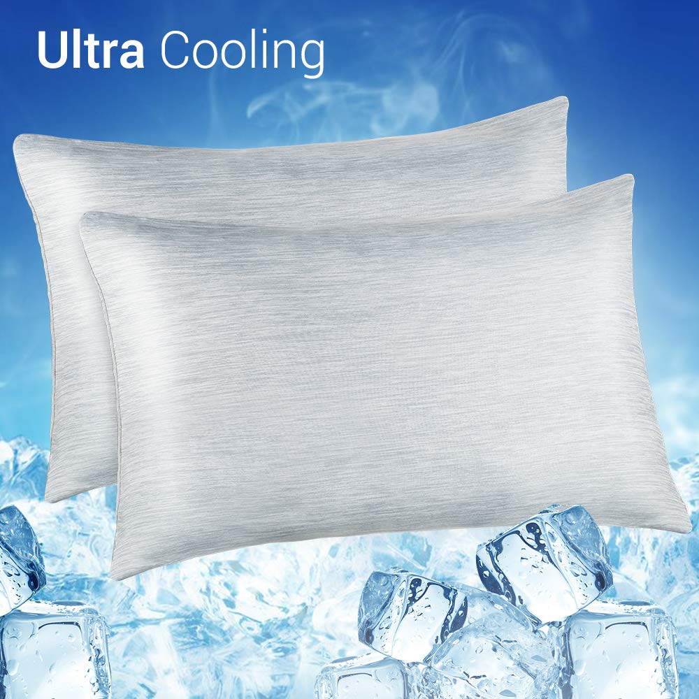 LUXEAR Cooling Pillowcase, 2 Pack Cooling Pillow Cover with Japanese Q-Max 0.55 Cooling Fiber, Breathable Soft, Cooling Eco-Friendly, Hidden Zipper Design, Queen Size(20x30 inches)-Gray