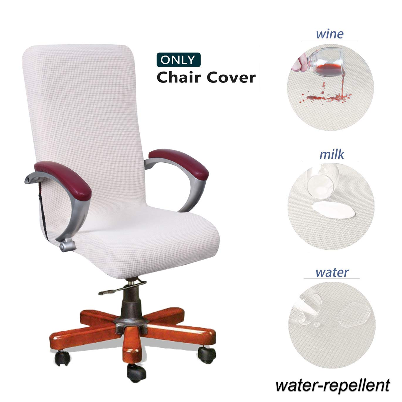 WOMACO Waterproof Office Chair Cover Jacquard Computer Office Chair Covers Water-Repellent Universal Boss Chair Covers Modern Simplism Style High Back Chair Slipcover 2-Light Gray, Large