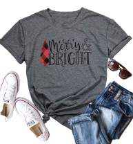 JINTING Short Sleeve Christmas Shirts for Women Merry and Bright Shirt Letter Print Christmas Graphic Tee Shirts Tops