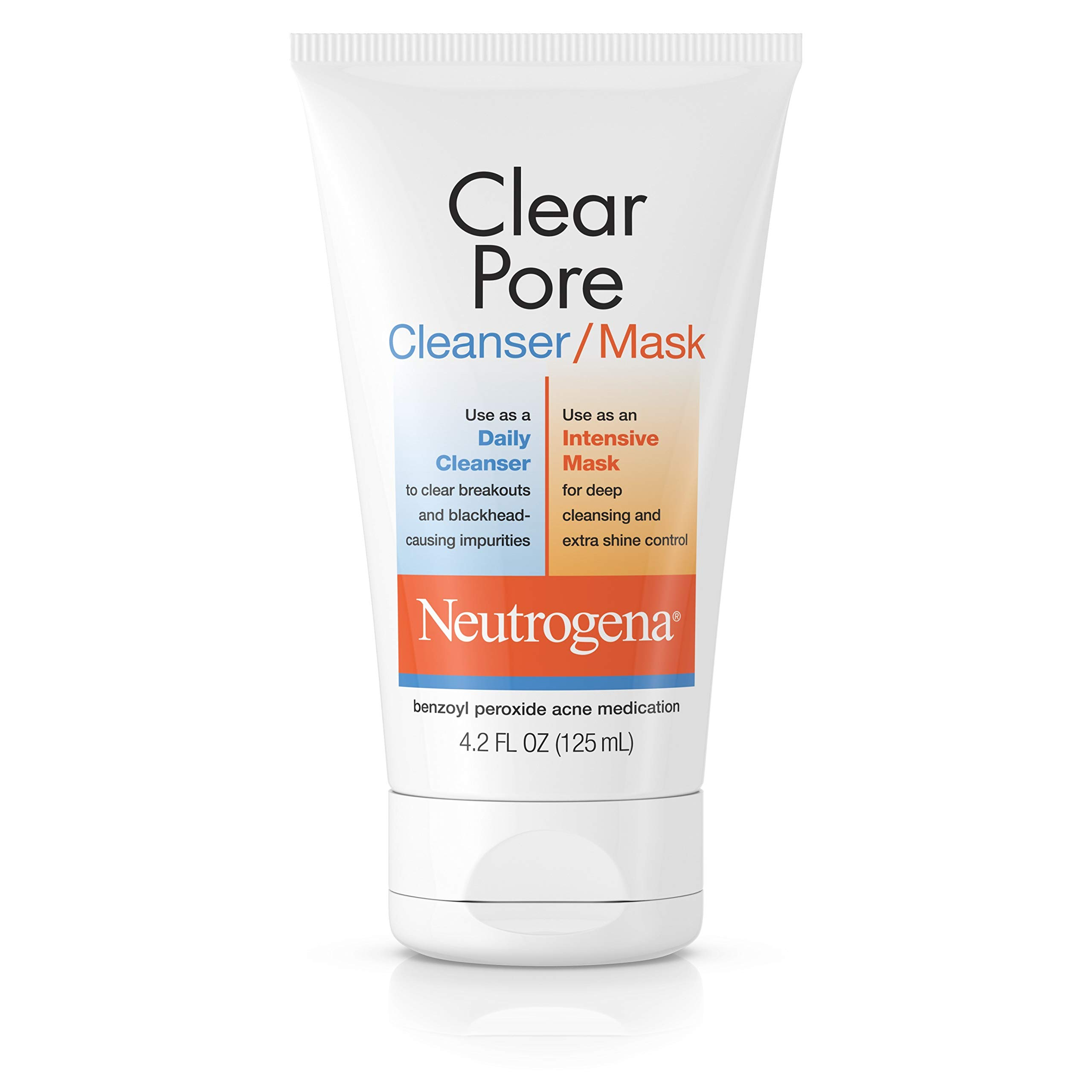 Neutrogena Clear Pore Facial Cleanser / Face Mask containing Kaolin & Bentonite Clay, Acne Treatment with Benzoyl Peroxide, 4.2 fl. Oz (Pack of 6)