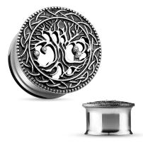 MoBody One Pair 316L Surgical Steel Tree of Life Double Flared Ear Gauge Plugs 2G-25mm