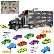 iBaseToy Toy Cars, 15 in 1 Transport Car Carrier Truck Toy, Toy Truck Fits 28 Toy Car Slots, Car Toys Gift for Kids Toddlers Boys Girls 3-12 Year Old