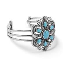 American West Sterling Silver Blue Turquoise Gemstone Cuff Bracelet Size S, M or L