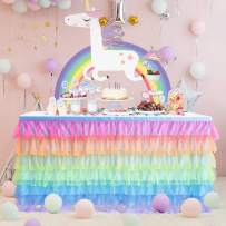 Rainbow Tulle Table Skirt Tutu Unicorn Table Skirts for Girl Birthday Party Baby Shower Unicorn Room Decoration