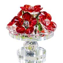 H&D HYALINE & DORA Handcrafted Red Crystal Flowers with Rotating Base Fengshui Home Decor Figurine,Gift Boxed