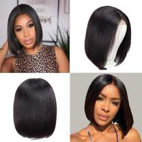 Straight Short Human Hair Bob Wigs 10inch 4x4 Lace Closure Bob Wig Natural Black Color for Woman(10inch)