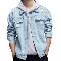 KAMA BRIDAL Men's Distressed Ripped Denim Jacket Button Down Jean Trucker Coat