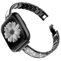 TOYOUTHS Stylish Bracelet Compatible with Fitbit Versa/Versa 2 Bands Women Slim Strap Replacement for Versa Lite Special Edition Stainless Steel Metal+Leather Accessories (Black+Shiny Silver)