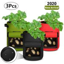 Aebitsry 3 Pack 10 Gallon Potato Grow Bags, Breathable Non-Woven Cloth, Tomato Flower Vegetable Growing Bags Plant Container Aeration Fabric Pots with Flap Velcro Window & Handles (Black Green Red)