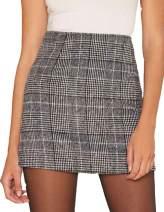 missomo Women Casual Super Comfy Stretchy Plaid High Waisted OL Mini Pencil Skirt