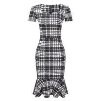 Woolala Women's Plus Size Plaid Print Mermaid Dress for Work Short Sleeves Pencil Skirt