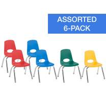 """FDP 12"""" School Stack Chair,Stacking Student Chairs with Chromed Steel Legs and Nylon Swivel Glides - Assorted Colors (6-Pack), 10362-AS"""