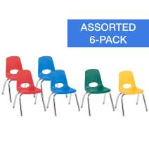 "FDP 12"" School Stack Chair, Stacking Student Chairs with Chromed Steel Legs and Nylon Swivel Glides - Assorted Colors (6-Pack), 10362-AS"