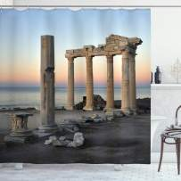 """Ambesonne Architecture Shower Curtain, Culture Photo of Historic Greek Ruins and Stones Next to Calm Sea, Cloth Fabric Bathroom Decor Set with Hooks, 70"""" Long, Blue Coral"""