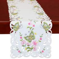 Simhomsen Spring Butterfly and Floral Table Runners, Dresser Scarf (Green, 14 × 35 Inch)