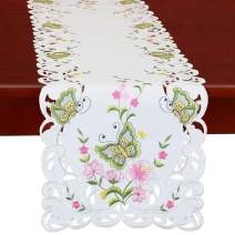 Simhomsen Spring Butterfly and Floral Table Runners, Dresser Scarf (Green, 14 × 54 Inch)