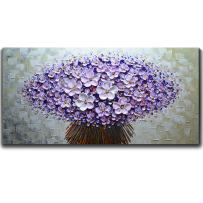 V-inspire Paintings, 20x40 Inch Bouquet Paintings Modern Textured Purple Flower Oil Painting Contemporary Artwork Floral Hangings Stretched and Framed Ready to Hang Wall Decoration Abstract Painting