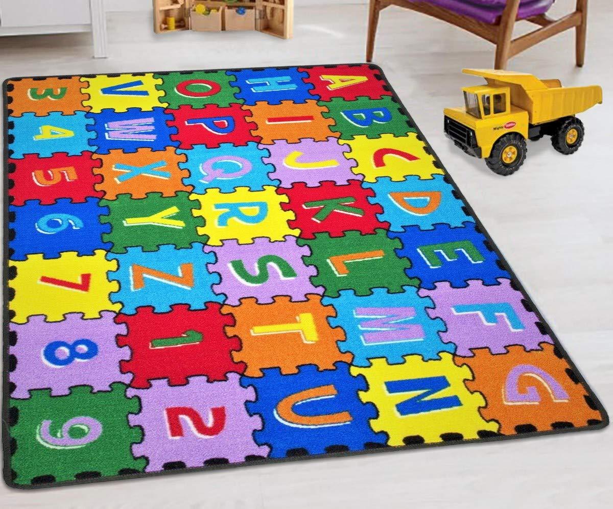 HR-Kids Rugs for Playroom Bedroom 3x5 Boys Girls Children's Room Décor Fun ABC alphabet Interactive Gift for Kids Boys Girls Educational Learning Mat Rug Carpet for Nursery Décor School Classroom Playroom