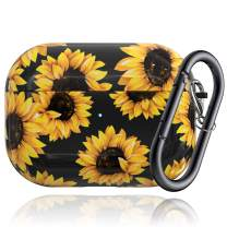Caka Flower Case for AirPods Pro Sunflower Case Cover for Women Girls Floral Protective Shockproof with Keychain Cute Flexible Slim Durable Luxury Girly Case for AirPods Pro (Sunflower)