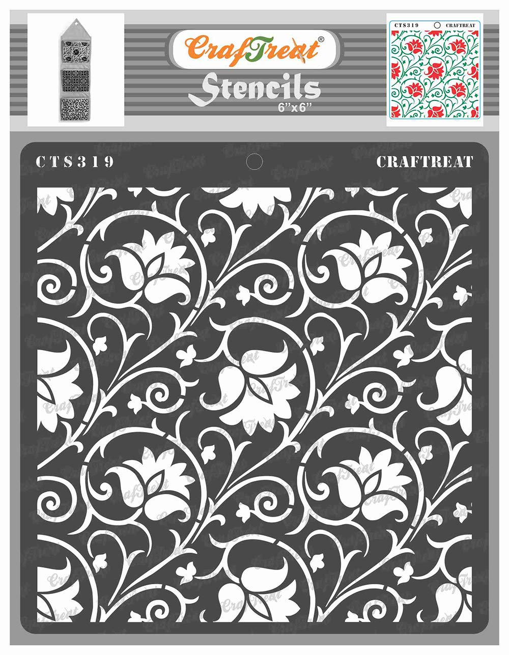 CrafTreat Floral Pattern Stencils for Painting on Wood, Wall, Tile, Canvas, Paper, Fabric and Floor - Arabesque Stencil - 6x6 Inches - Reusable DIY Art and Craft Stencils Patterns for Painting