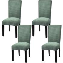 Fuloon 2 4 6 Pack Stretch Dining Chair Covers,Removable Washable Anti-Dust Dinning Room Chair Seat Cushion Slipcovers (4, Light Green)