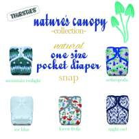 Thirsties Nature's Canopy Cloth Diaper Collection Package, Snap Natural One Size Pocket Cloth Diaper, Nature's Canopy