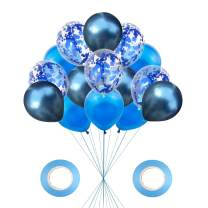 AMAWILL 17pcs Blue Balloons Party Decorations,Sequin Confetti Balloons Chrome Metallic Balloons Helium Balloons for Wedding Birthday Decor Supplies Baby Shower