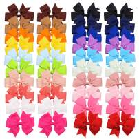CÉLLOT 40pcs Boutique Grosgrain Ribbon Hair Bows with Alligator Clips for Baby Girls Toddlers Kids in Pairs