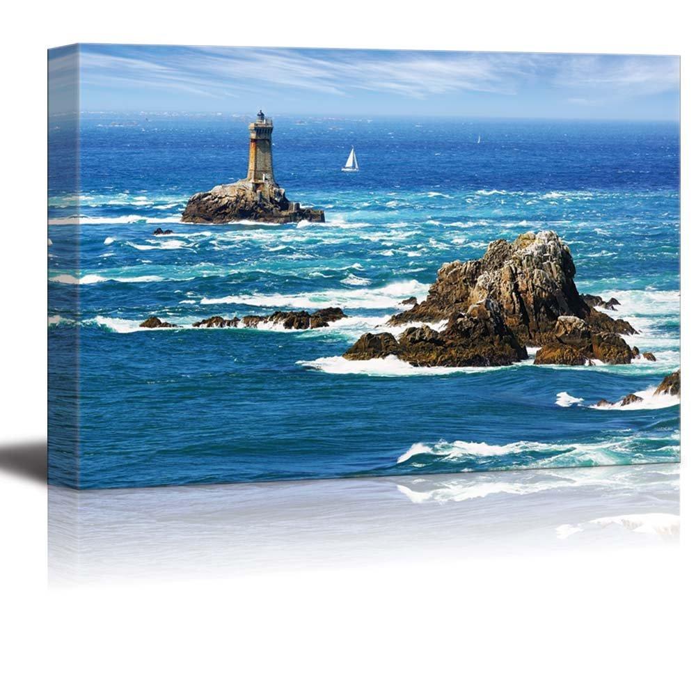 "Beautiful Scenery Seascape Lighthouse on Cape Sizun Pointe Du Raz Brittany France - Canvas Art Wall Decor - 24"" x 36"""