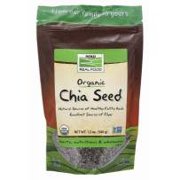 NOW Foods, Organic Black Chia Seeds, Non-GMO, Source of Healthy Fatty Acids and Fiber, 12-Ounce