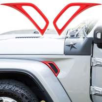 LAIKOU Car Wheel Eyebrow Side Air Conditioning Vent Outlet Decoration Cover Sticker Exterior Accessories for 2018-2021 Jeep Wrangler JL JLU & Gladiator JT (Red)