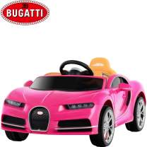 Uenjoy 12V Licensed Bugatti Chiron Kids Ride On Car Battery Operated Electric Cars for Kids with RC Remote Control, LED Lights, Music & Horn, Storage Room, Pink