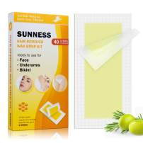 40 Wax Strips Hair Removal for Women with 3 Post Wipes, Cold Waxing Strips Kit for Bikini Face Legs Underarms Brow Brazilian, Facial Hair Remover for Full Body Men (Yellow)