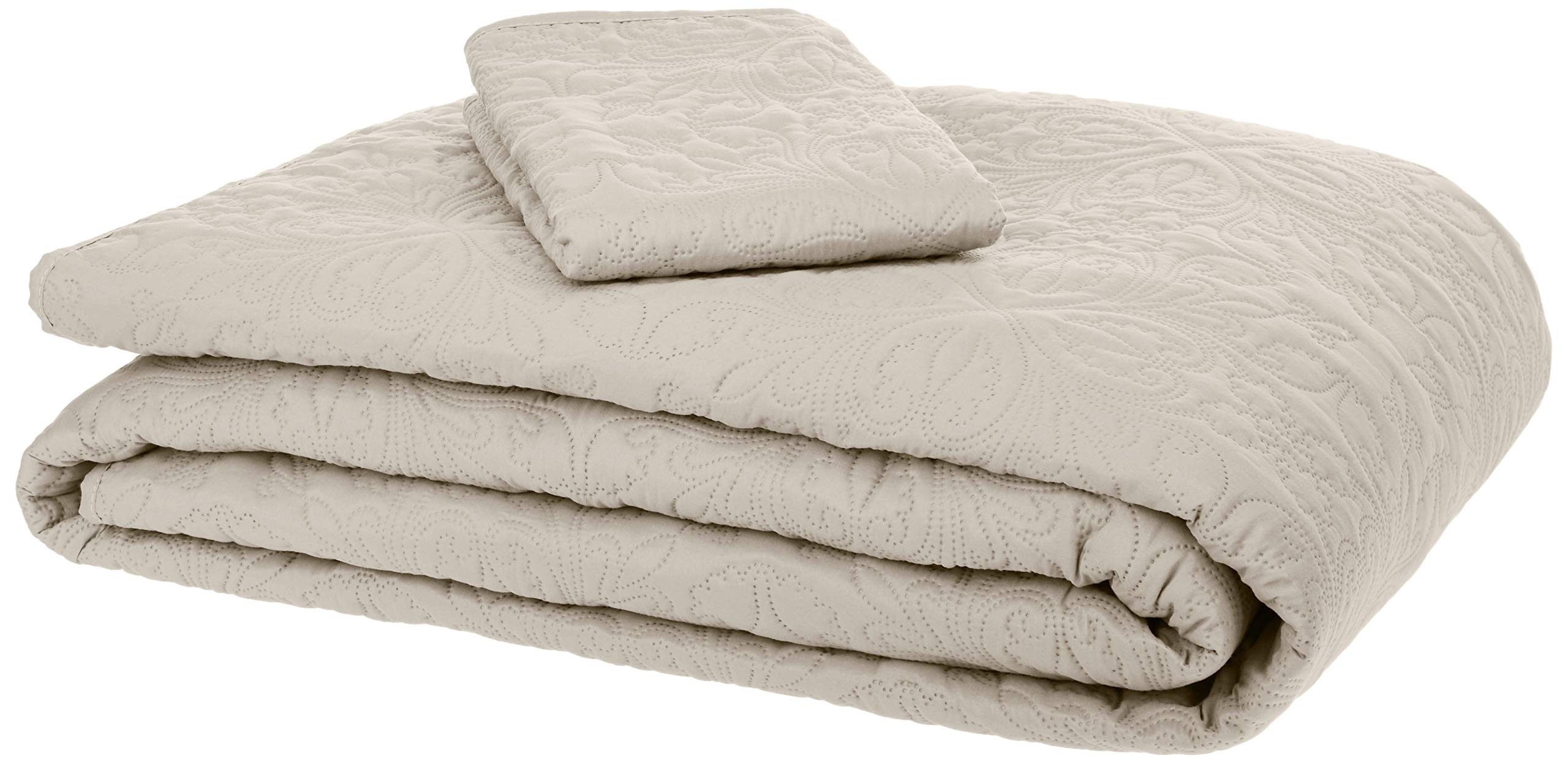 AmazonBasics Oversized Quilt Coverlet Bed Set - Twin, Beige Floral