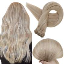 Full Shine Sew In Hair Weft Bundle 20 Inch Straight Weave Hair Bundles Remy Hair Double Weft Hair Extensions Highlighted Color 18 and 613 Blonde Hair Extensions Human Hair 100 Grams
