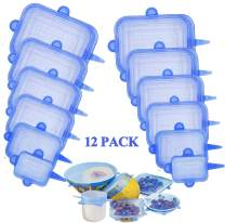 Silicone Stretch Lids, 12-Pack Various Sizes Cover for Bowl, Silicone Lids to Fit All Shape of Containers, Stretchable Food Covers Reusable Container Lids (blue rectangle)
