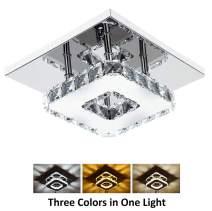 Ganeed Crystal Ceiling Light,12W LED Flush Mount Ceiling Light, Modern Square Mini Chandelier for Dining Room Living Room Bedroom Hallway(7.9 Inch/3000-6500K)