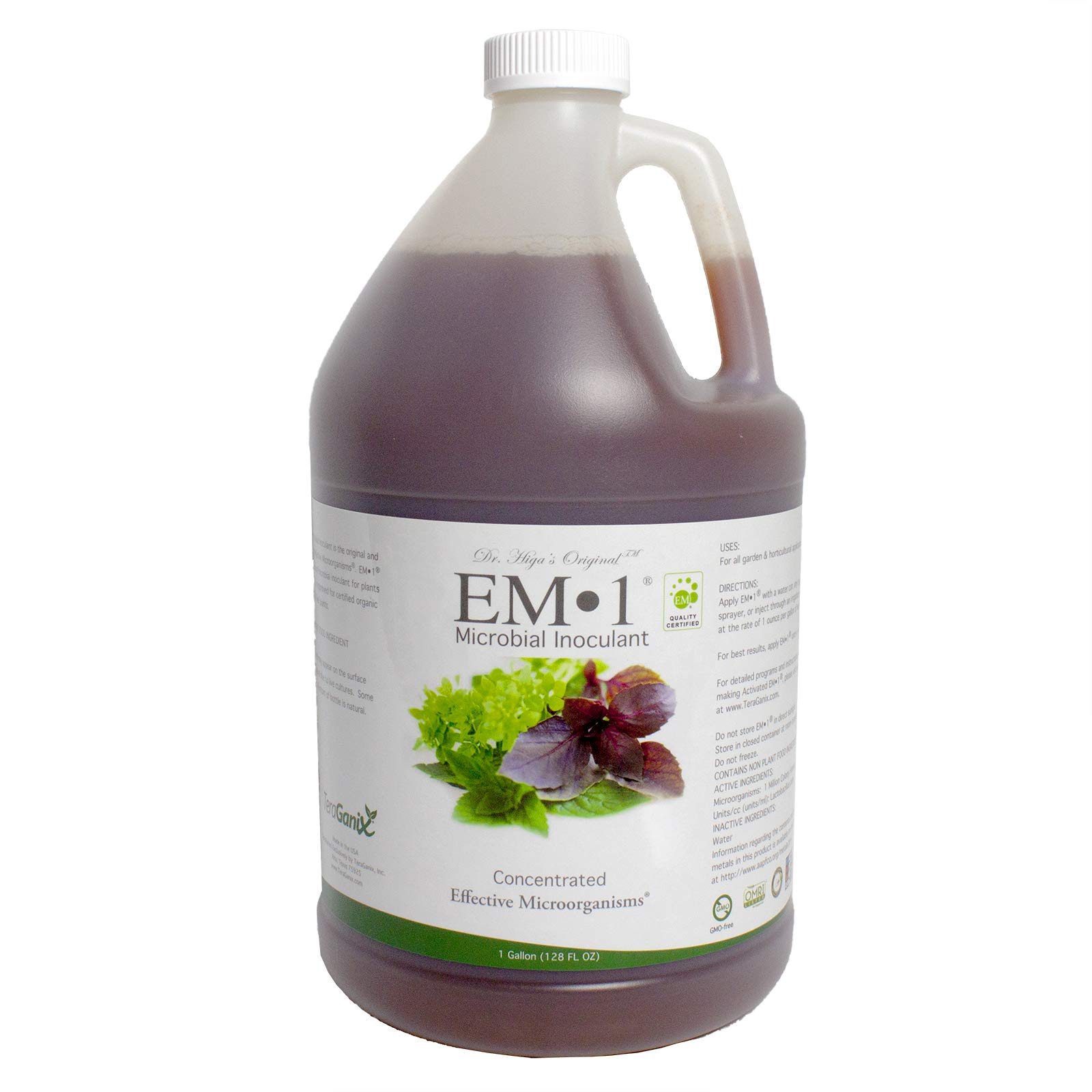 TeraGanix EM-1 (1 Gal.) - Certified Organic Microbial Inoculant - Plants and Soil Nontoxic Active Probiotic Conditioner For Lawn Care Eliminate Foul Odors and Improve Water Quality