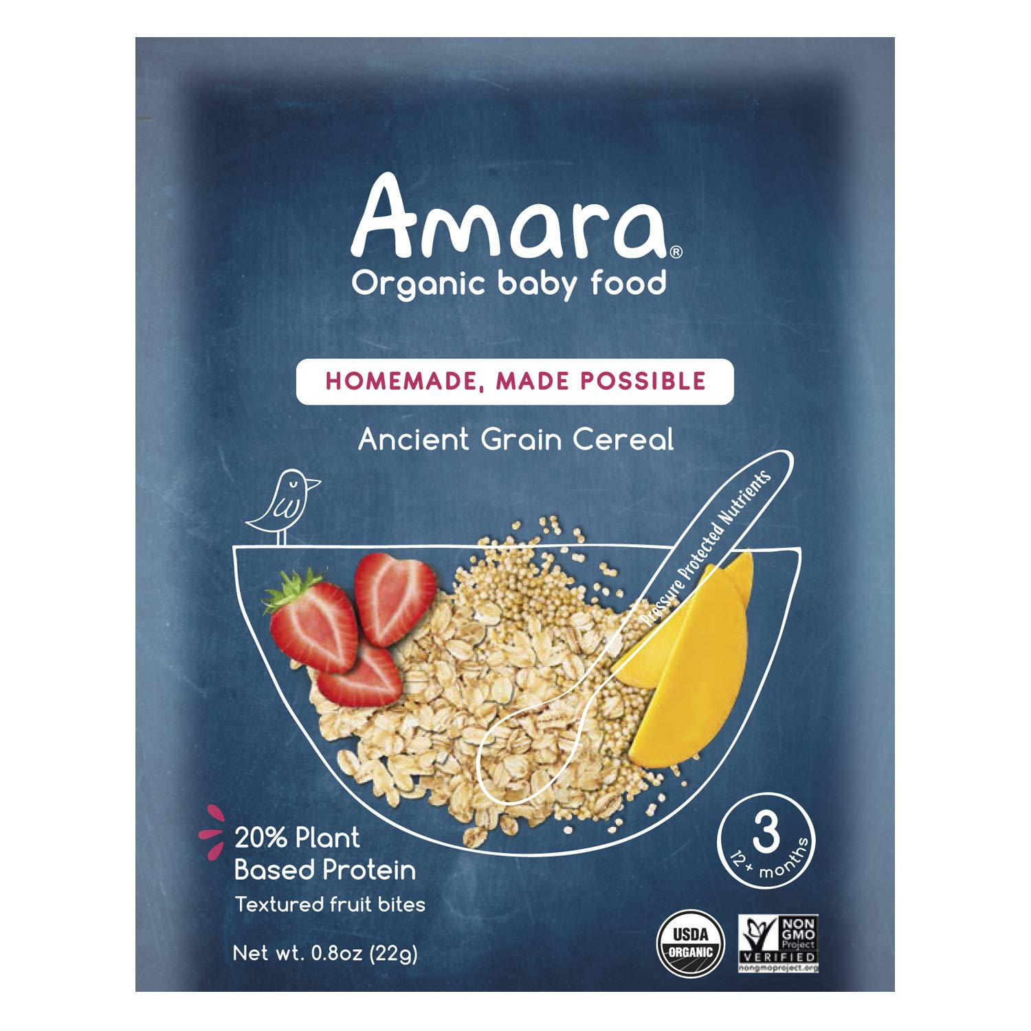 Amara Organic Baby Food | Ancient Grain Cereal | Homemade Made Possible | Mix with Breastmilk, Formula or Water | Certified Organic, Non-GMO, No Added Sugars | Stage 3 - Babies 12 Months+ | 5 Pouches
