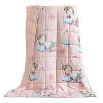 BUZIO Kids Weighted Blanket 3 lbs, Ultra Cozy Minky Fleece and Cotton Sided with Lovely Unicorn Patterns, Reversible Heavy Blanket Great for Calming and Sleeping, 36x48 inches