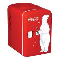 Coca-Cola KWC-4 Portable Skincare Thermoelectric Technology and 6 Cans Capacity-Mini Fridge for Food, Beverages, 4.2 Quarts, Red