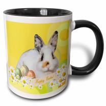 3dRose Calico Bunny Rabbit with Daisy Flowers and Three Eggs Happy Easter Two Tone Mug, 11oz, Black