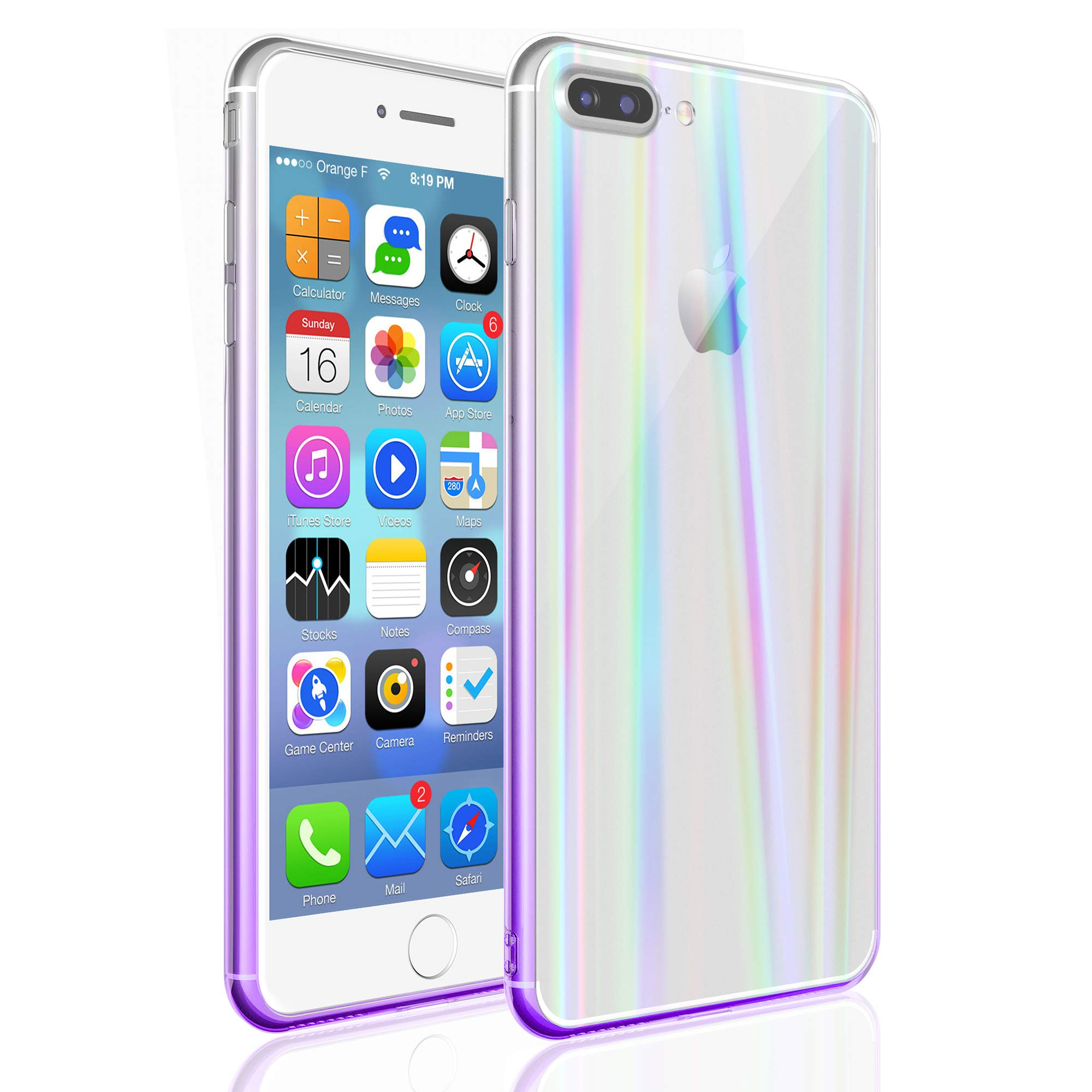 EYZUTAK Transparent Aurora Gradient Color Case for iPhone Xs Max, Ultra Thin Tempered Glass Back Anti-Scratch TPU Bumper Shockproof Protective Case Cover for iPhone Xs Max - Purple