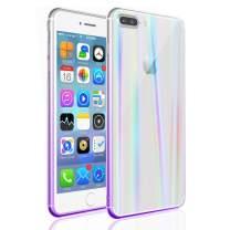 EYZUTAK Transparent Aurora Gradient Color Case for iPhone 8 Plus iPhone 7 Plus, Ultra Thin Tempered Glass Back Anti-Scratch TPU Bumper Shockproof Protective Case Cover for iPhone 7 Plus/8 Plus -Purple