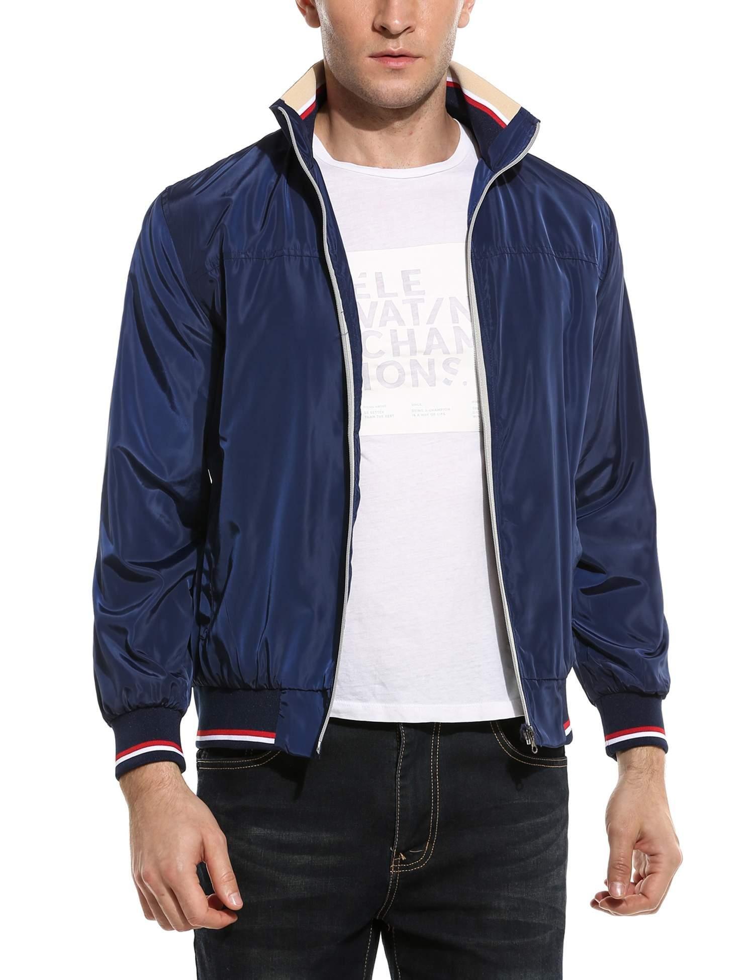 COOFANDY Men's Casual Full Zip Up Striped Lightweight Bomber Jacket Coat