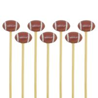 """BambooMN 3.9"""" Decorative Sports Ball End Bamboo Cocktail Fruit Sandwich Picks Skewers for Catered Events, Holiday's, Restaurants or Buffets Party Supplies, Football, 100 pcs"""